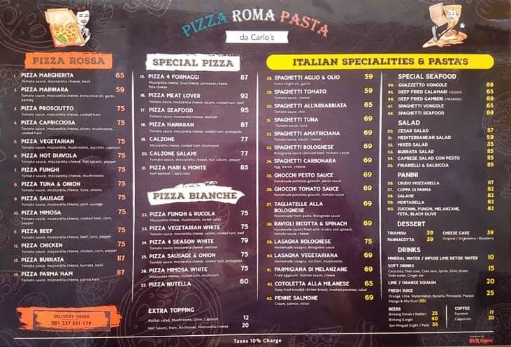 Best Pizza Bali Pasta Menu